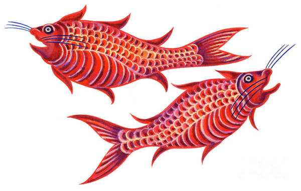 Sea Star Painting - Fish Pisces by Jane Tattersfield