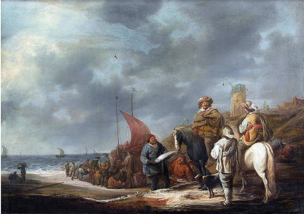 Cuyp Wall Art - Painting - Fish Sellers At The Beach by Benjamin Gerritsz Cuyp