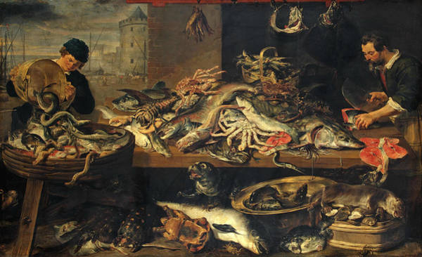 17th Century Wall Art - Painting - Fish Stall by Jan Wildens
