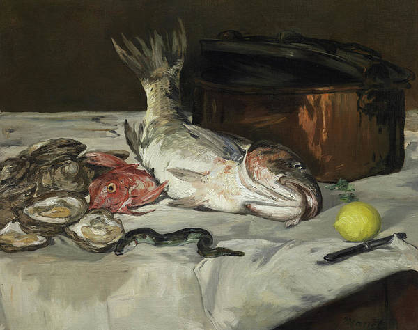 Wall Art - Painting - Fish Still Life by Edouard Manet