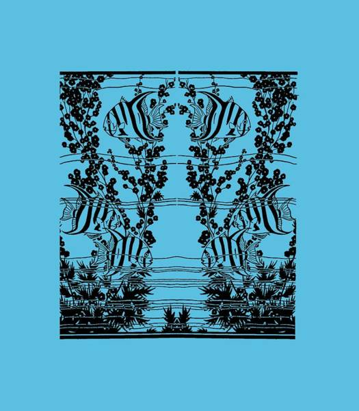 Drawing - Fish Tank - Fish Tank Tee Shirt by rd Erickson