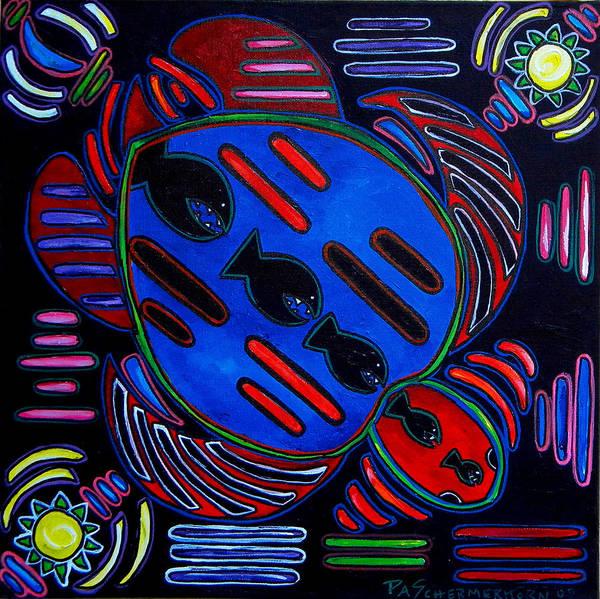 Painting - Fish Turtle Mola by Patti Schermerhorn