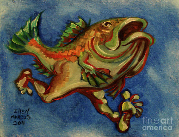 Jogging Painting - Fish With Legs by Ellen Marcus
