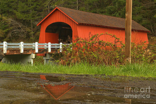 Photograph - Fisher Covered Bidge Reflections by Adam Jewell