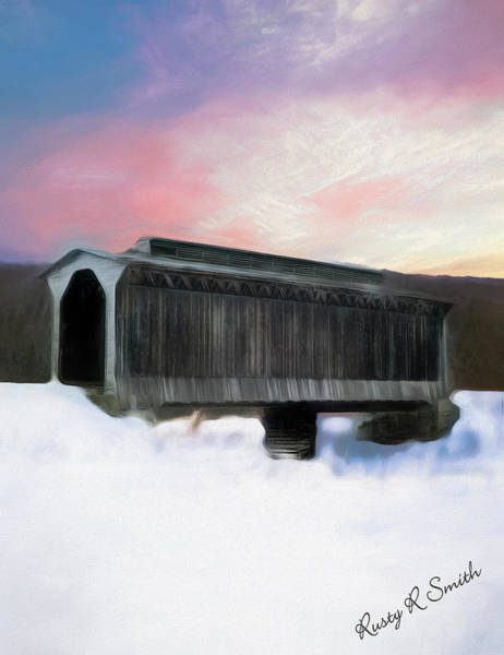 Digital Art - Fisher Covered Bridge,wolcott Vermont by Rusty R Smith