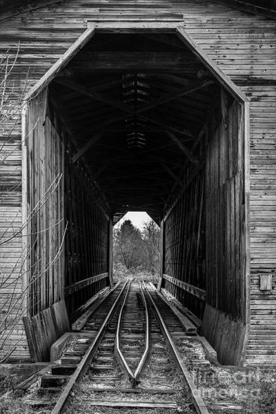 Wall Art - Photograph - Fisher Covered Railroad Bridge Black And White by Edward Fielding