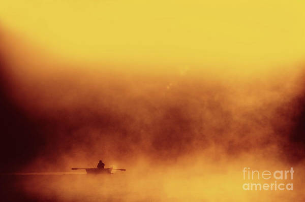 Expanse Photograph - Fisher In Quiet Morning Fog by Arletta Cwalina