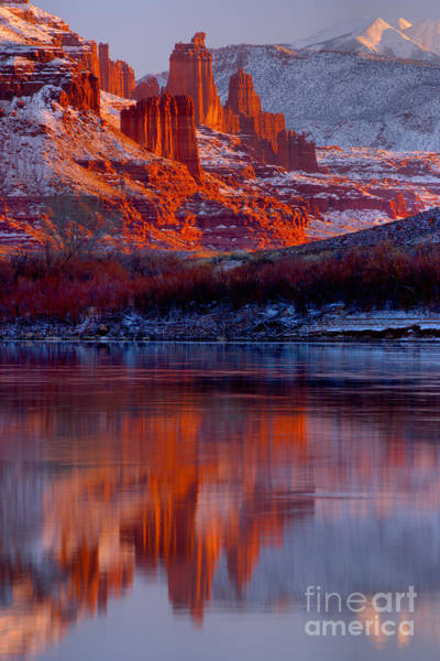 Fisher Towers Photograph - Fisher Towers And Snow Caps by Adam Jewell