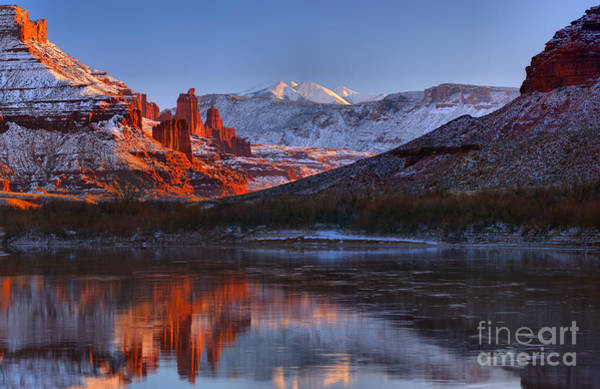 Fisher Towers Photograph - Fisher Towers Glowing Reflections by Adam Jewell