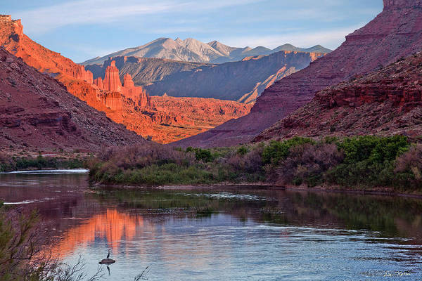 Moab Photograph - Fisher Towers Sunset Reflection by Dan Norris