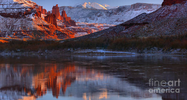 Fisher Towers Photograph - Fisher Towers Sunset Reflection Panorama by Adam Jewell