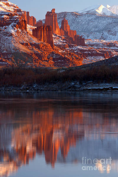 Fisher Towers Photograph - Fisher Towers Sunset Reflections by Adam Jewell