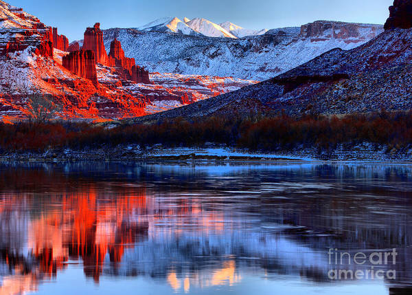 Photograph - Fisher Towers Sunset Winter Landscape by Adam Jewell