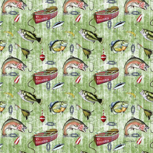 Fishermen Digital Art - Fisherman-a-green by Jean Plout