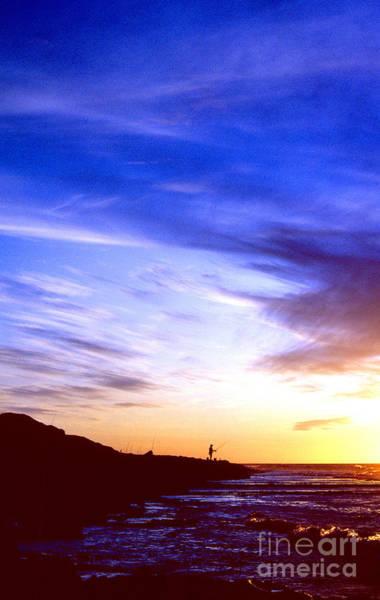 Kaena Photograph - Fisherman At Sunset Kaena Point by Thomas R Fletcher