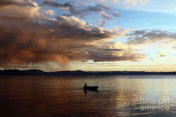 Photograph - Fisherman At Sunset On Lake Titicaca by James Brunker