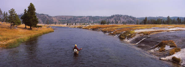 Fly Fishermen Photograph - Fisherman Fishing In A River, Firehole by Panoramic Images