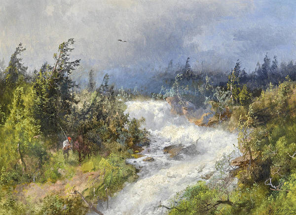 Wall Art - Painting - Fisherman In A Landscape by Hermann Herzog