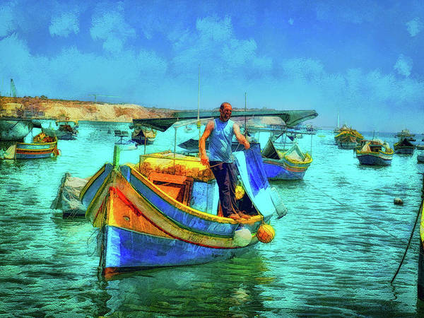 Digital Art - Fisherman, Marsaxlokk, Malta by Leigh Kemp