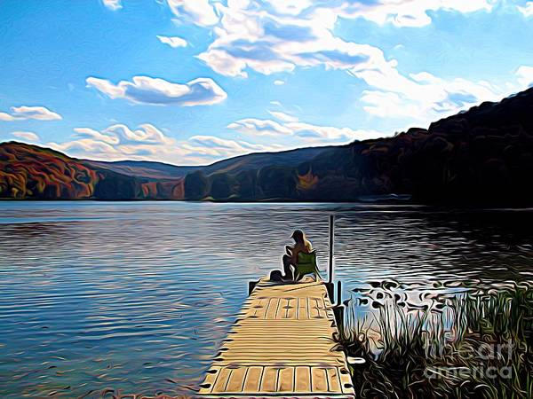 Photograph - Fisherman On Red House Lake In Allegany State Park Abstract Expressionistic Effect by Rose Santuci-Sofranko
