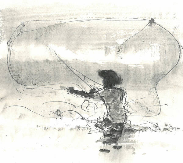 Netting Painting - Fisherman Sri Lanka by Lincoln Seligman