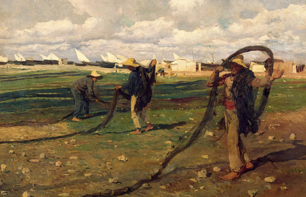 Tangle Painting - Fisherman Taking Up Nets by Joaquin Sorolla y Bastida