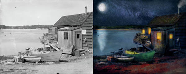 Photograph - Fisherman - The Fisherman's Cabin 1915 - Side By Side by Mike Savad