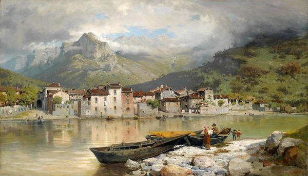 Lake Como Painting - Fisherman's Family At Lecco On Lake Como by Ercole Calvi