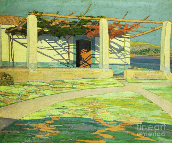 Porch Painting - Fisherman's House, Puerta Pollensa by Andres F Etchebarne Bidart