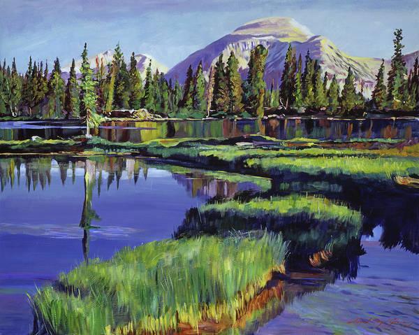 Mountain Lake Painting - Fishermans Lake Reflections by David Lloyd Glover