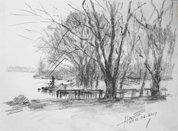 Wall Art - Drawing - Fisherman's Park by Ylli Haruni