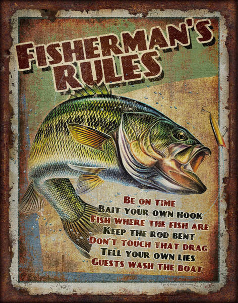Fishing Tackle Wall Art - Painting - Fisherman's Rules by JQ Licensing