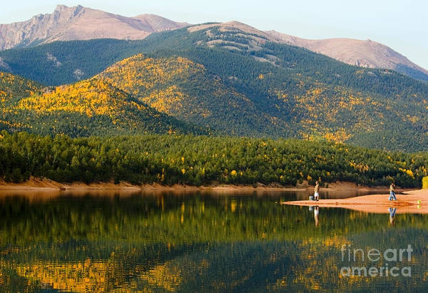 Photograph - Fishermen And Autumn Aspen At Crystal Creek Reservoir Pikes Peak by Steve Krull