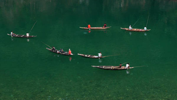 Fishermen At Dawki, Meghalaya, India Art Print