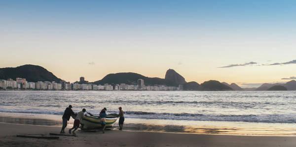 Photograph - Fishermen At Dusk In Copacabana, Rio De Janeiro, Brazil by Alexandre Rotenberg