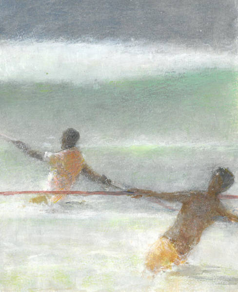 Men At Work Wall Art - Painting - Fishermen Hauling Nets by Lincoln Seligman