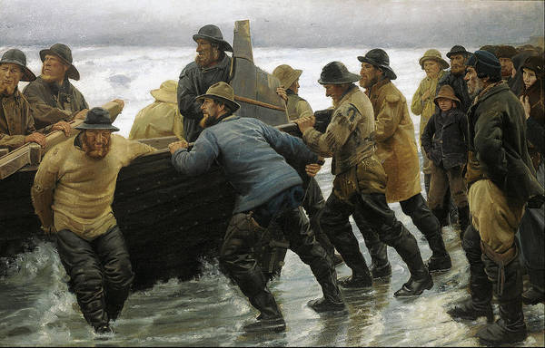 Angler Art Painting - Fishermen Launching A Rowing Boat 1881 by Michael Ancher