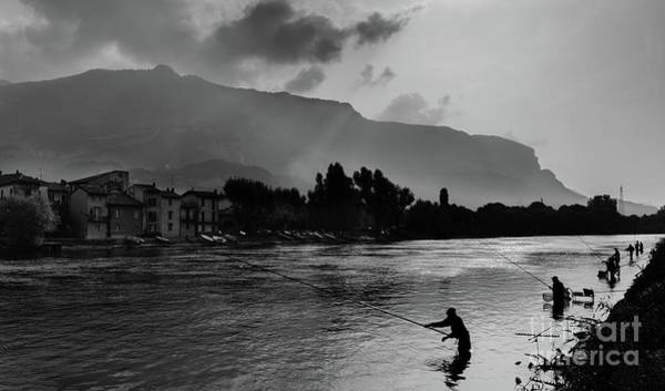 Photograph - Fishermen On Lago Di Garlate, Italy by Alexandre Rotenberg