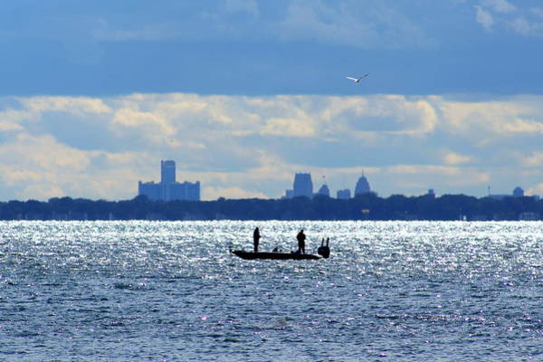 Fisher Center Photograph - Fishermen On Lake Saint Clair by Anita Hiltz
