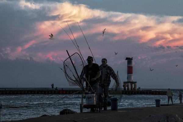 Angling Art Photograph - Fishermen On The Breakwater Channel At Ottawa Beach by Randall Nyhof