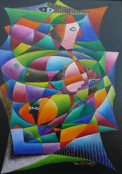 Painting - Fishes And Faces  by Val Stokes