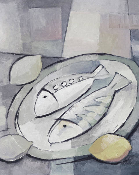Painting - Fishes Black And White by Lutz Baar