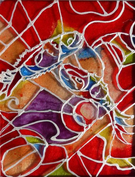 Vitrage Wall Art - Painting - fishes on the Chagall way by Sandrine Kespi