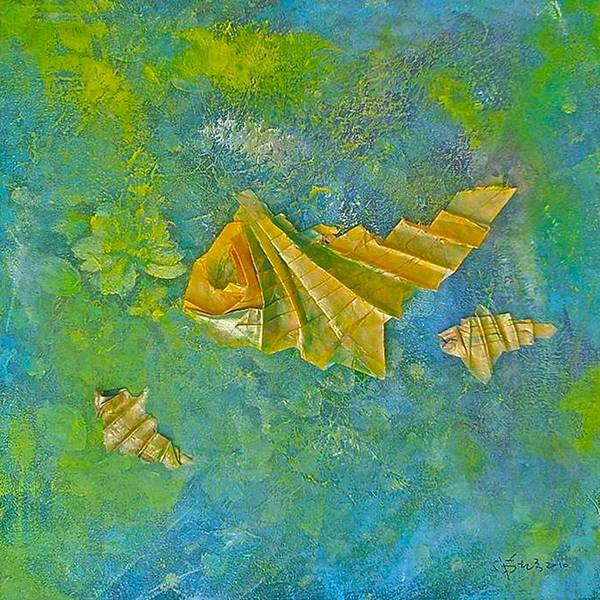 Origami Painting - Fishes by Wonju Hulse