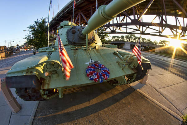 Photograph - Fisheye View Of Tank As A Memorial To Veterans by Sven Brogren