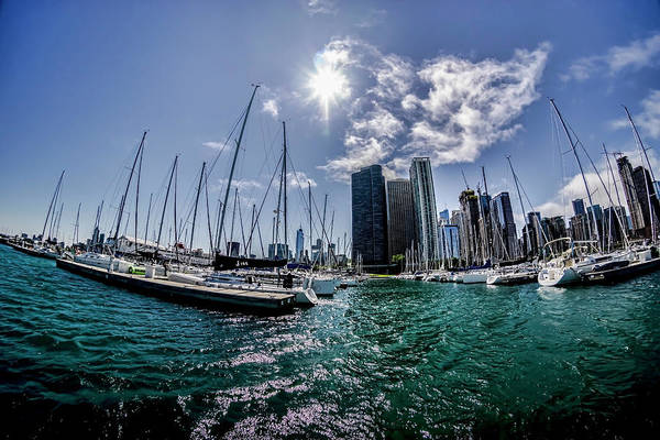 Photograph - Fisheye View Of The Chicago Skyline From Dusable Harbor  by Sven Brogren