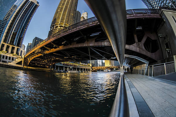 Photograph - Fisheye View From The Chicago Riverwalk by Sven Brogren