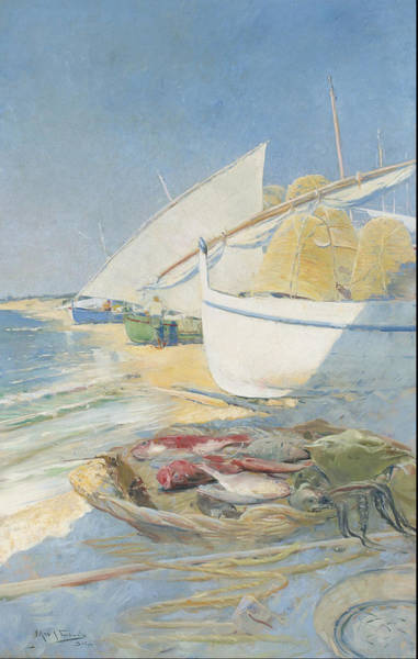 Angler Art Painting - Fishing 1895 by Arcadi Mas I Fondevila