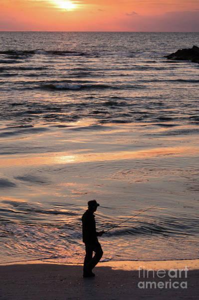 Photograph - Fishing After Work, Sanibel Island, Florida  -80060 by John Bald