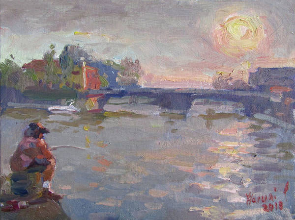 Lake House Painting - Fishing At Sunset  by Ylli Haruni